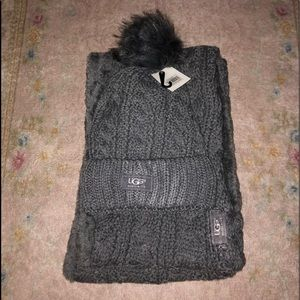 UGG Australia gray scarf and hat set